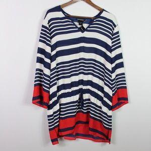 Ashley Stewart Tunic Plus Size 18 20 Stripe Print